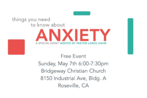 "Join me for a talk this coming Sunday- ""Things You Need To Know About Anxiety"""